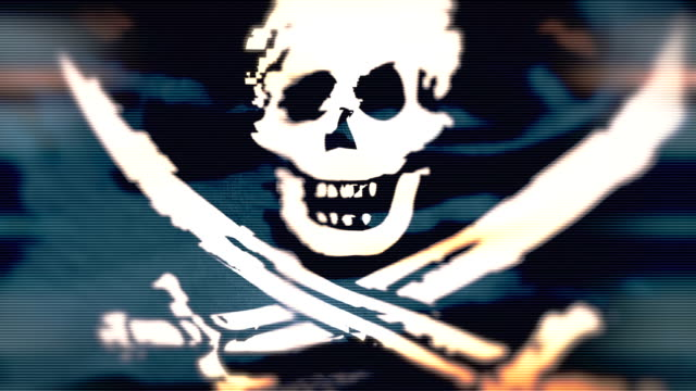 Loop Pirate Flag with distortion video