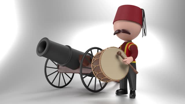 Loop Ready Traditional Ramadan Drum and Drummer iIn Front Of A Cannon Against White in 4K Resolution