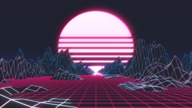 vidéos et rushes de loop retro images de fond futuristes style années 1980. paysage numérique dans un cybermonde - synthétiseur