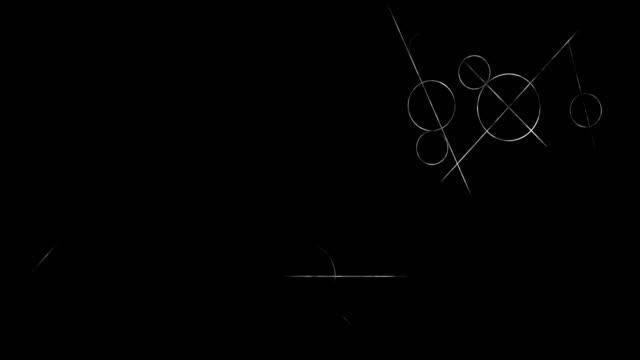matematikte bilimsel geometrik desenler ile döngü geçiş animasyonu. matematik ve eğitim arka plan. daire ve hat. - süslü püslü stok videoları ve detay görüntü çekimi