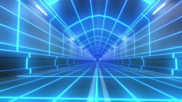 Loop tunnel 80s retro tron future wireframe arcade road tube subway neon glow 4k video