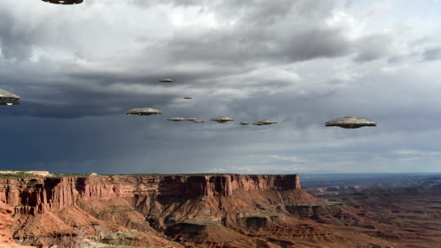 Loop with an UFO invasion over the Grand Canyon video