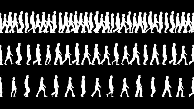 Loopable and tileable Silhouettes of People walking Camera FOLLOWING the people. silhouette people stock videos & royalty-free footage