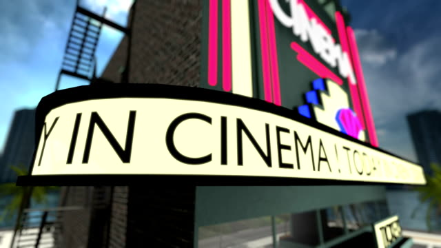 Loop-able animated text on a movie theater. video