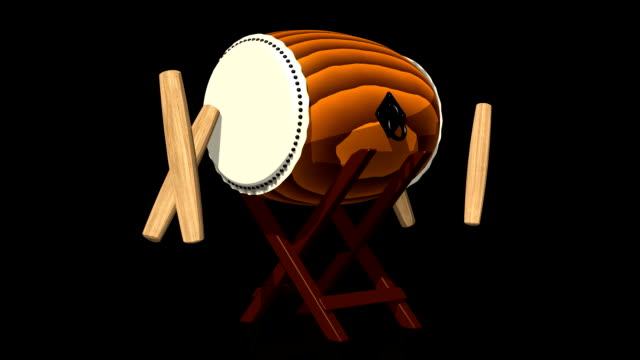 Loopable Asian Drum And Sticks On Black Background video