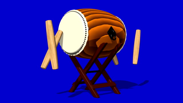 Loopable Asian Drum And Sticks On Blue Background video