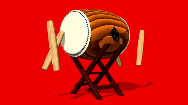 Loopable Asian Drum And Sticks On Red Background video