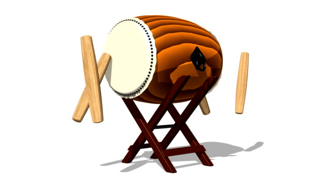 Loopable Asian Drum And Sticks On White Background video