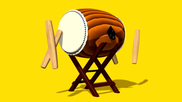 Loopable Asian Drum And Sticks On Yellow Background video