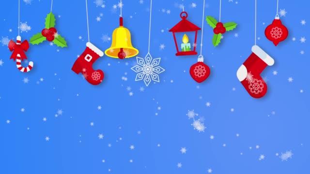 sfondo loopable con elementi e icone cristmas. - ghirlanda decorazione video stock e b–roll