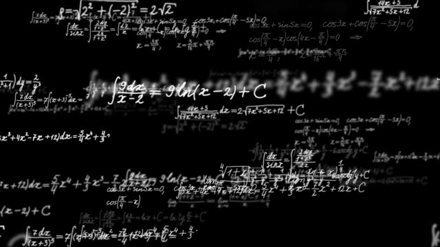 Loopable background with math formulas. Math calculations or formulas coming from behind the screen on black background, computer mathematics stock videos & royalty-free footage