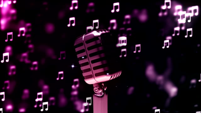 vídeos de stock e filmes b-roll de hd loopable background with nice abstract retro microphone - weatherman