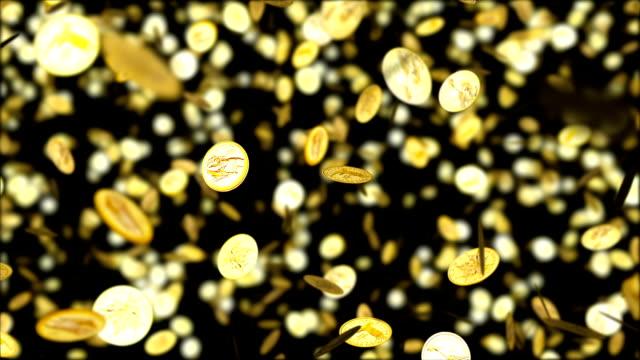 hd endlos wiederholbar hintergrund mit schön fallenden goldmünzen - fülle stock-videos und b-roll-filmmaterial