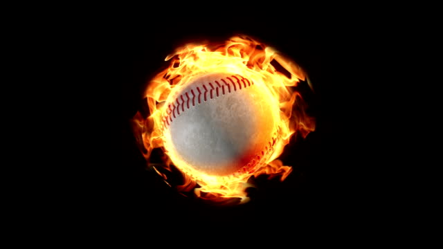 Loopable baseball on fire background video