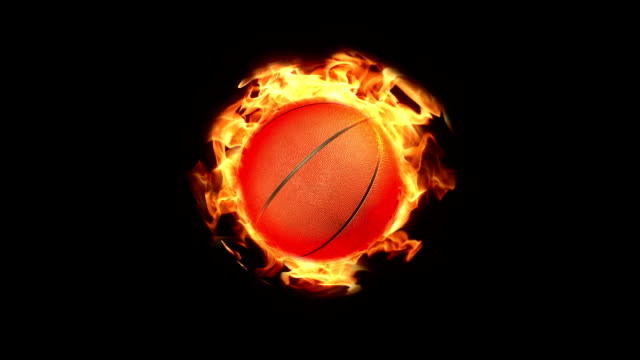 vídeos de stock, filmes e b-roll de circulares basquete em fundo de fogo - softbol esporte