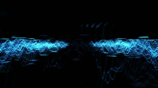 Loopable blue abstract soundwave background 128bpm