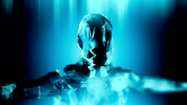 Loopable blue android robot artificial inteligence technology background video