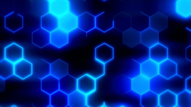 sfondo esagoni blu loopable - esagono video stock e b–roll