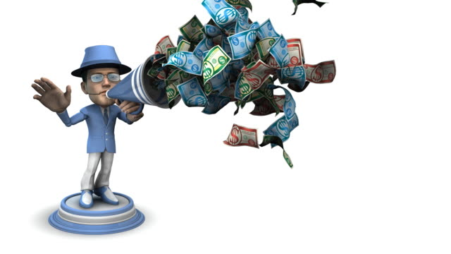 Loopable, BubbleHead Businessman with Bullhorn and Money Bubblehead Businessman with Bullhorn and Money (Loopable) announcement message stock videos & royalty-free footage