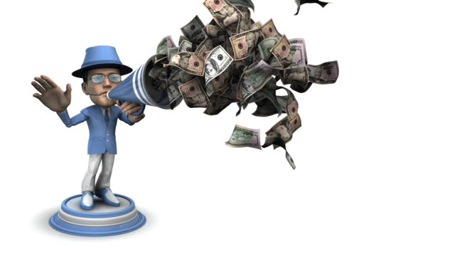 Loopable, Bubblehead Businessman with Bullhorn and Money video
