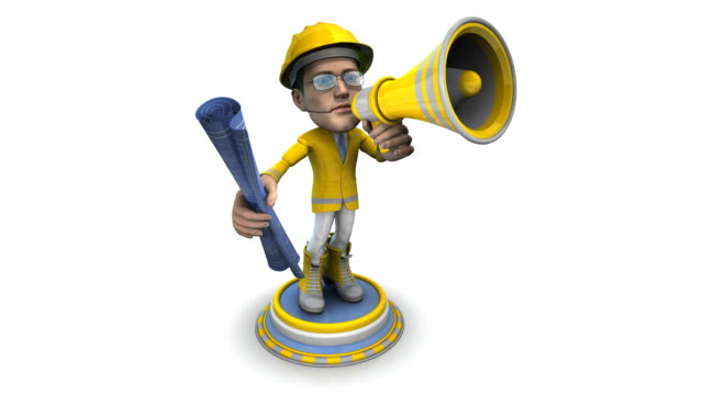 Loopable, BubbleHead of a Construction Worker with Bullhorn and Blueprint video