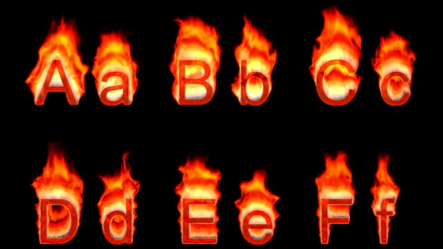 Loopable burning A, B, C, D, E, F video