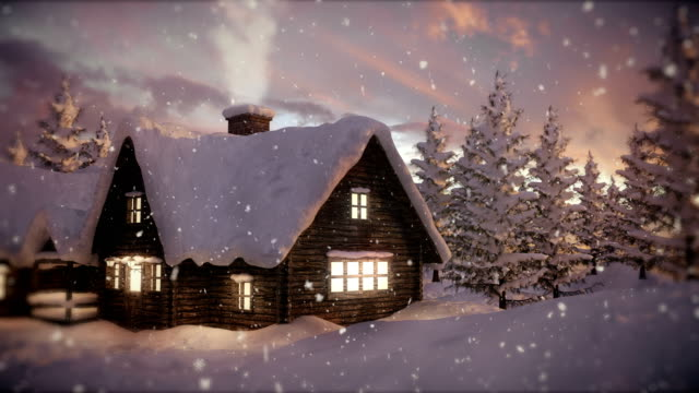 Loopable Christmas Scene | Winter Landscape 3D animation of winter lanscape snowman stock videos & royalty-free footage