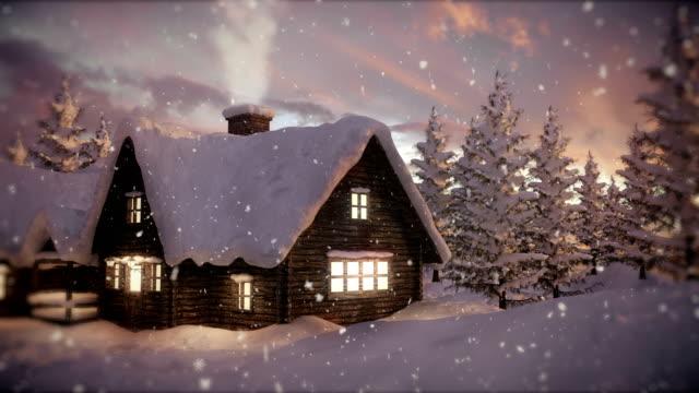 vídeos de stock e filmes b-roll de loopable christmas scene | winter landscape - christmas card