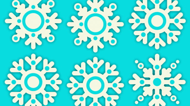 Loopable Close Up Design of Spinning Snowflakes (2 versions) video