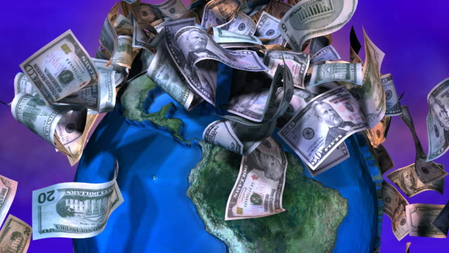 Loopable, Close-up of Falling USA currency on spinning Earth video