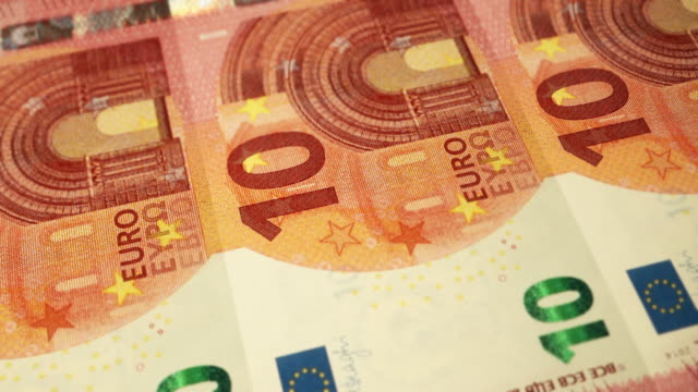 Loopable Close-up Shows Printing of €10 Euro Banknote, European Central Bank
