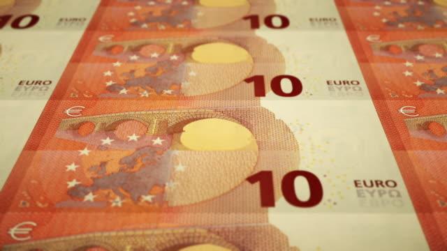 Loopable Close-up Shows Printing of €10 Euro Banknote, European Central Bank