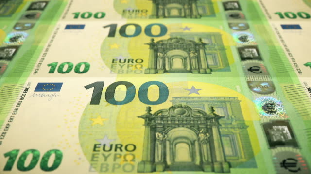 Loopable Close-up Shows Printing of €100 Euro Banknote, European Central Bank Closeup of sheetfed printing front side of €100 Banknote, Currency of the European Union european union currency stock videos & royalty-free footage