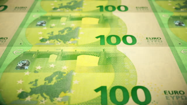 Loopable Close-up Shows Printing of €100 Euro Banknote, European Central Bank