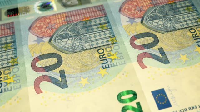 Loopable Close-up Shows Printing of €20 Euro Banknote, European Central Bank
