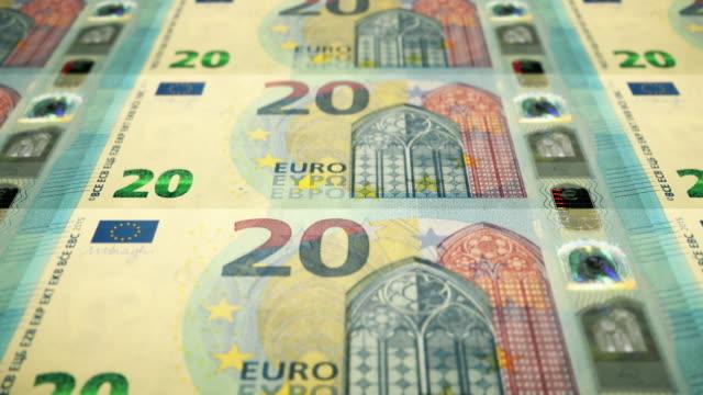 Loopable Close-up Shows Printing of €20 Euro Banknote, European Central Bank