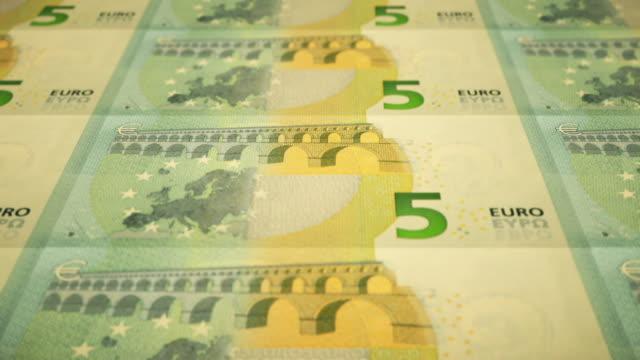 Loopable Close-up Shows Printing of €5 Euro Banknote, European Central Bank