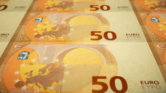 Loopable Close-up Shows Printing of €50 Euro Banknote, European Central Bank