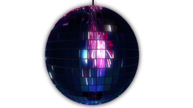 Loopable disco ball rotating slowly on white background with reflections of fireworks