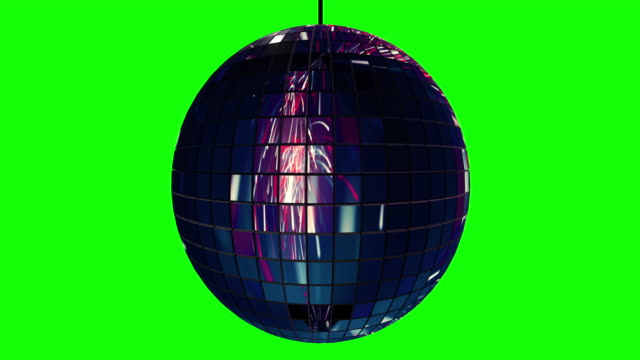 Loopable disco ball rotating slowly with reflections of fireworks on greenscreen
