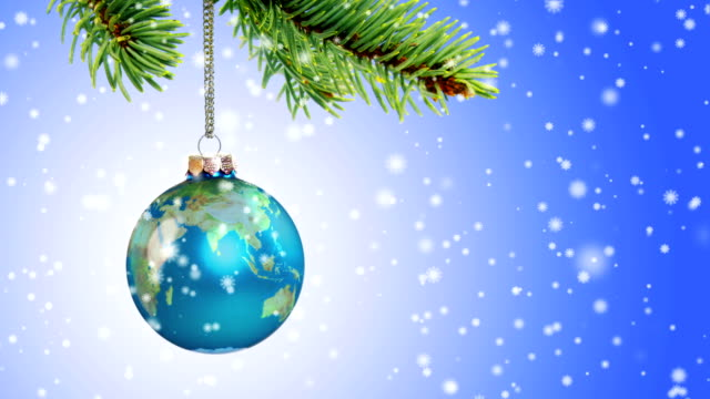 Loopable Earth Christmas Ornament with Falling Snow video