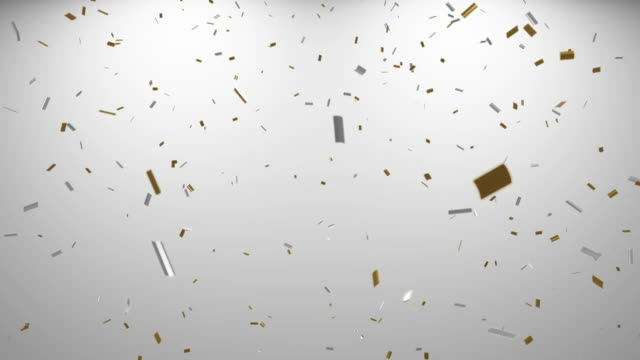 vídeos de stock e filmes b-roll de loopable falling gold and silver confetti with alpha channel 4k - confetis