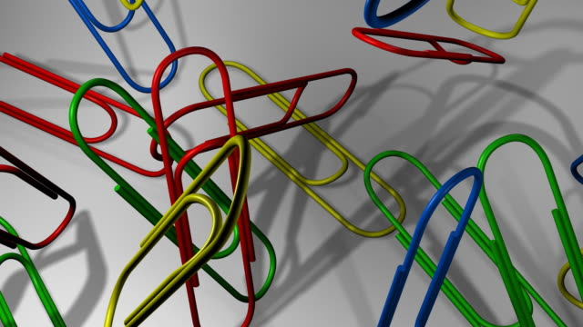 Loopable, Falling Multicolor Paper Clips video