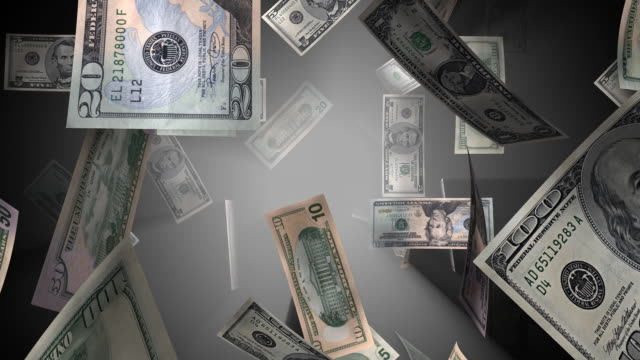 loopable, cubi valuta statunitense con raggi - bonus video stock e b–roll