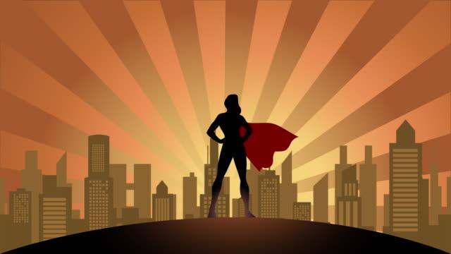 vídeos de stock e filmes b-roll de loopable female superhero silhouette in the city animation video - super hero