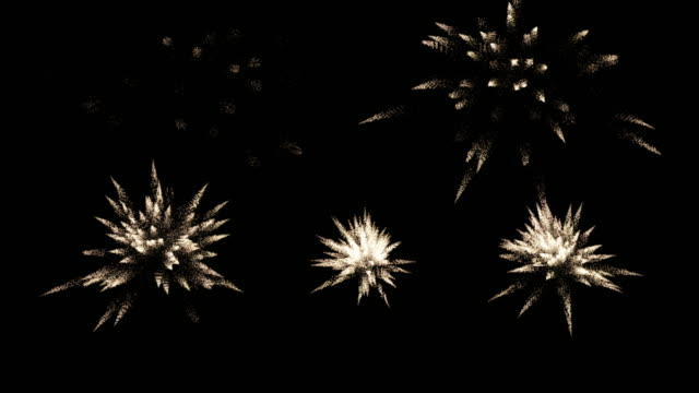 Loopable fireworks on the black sky screen with alpha channel. Computer ganerated 4K footage. Fireworks background footage, loopable , with ALPHA channel , 4K , 30FPS pyrotechnic effects stock videos & royalty-free footage