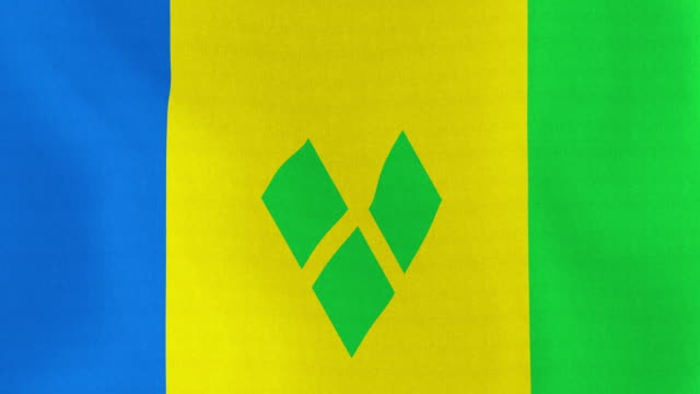loopable: flag of saint vincent and grenadines - kingstown video stock e b–roll