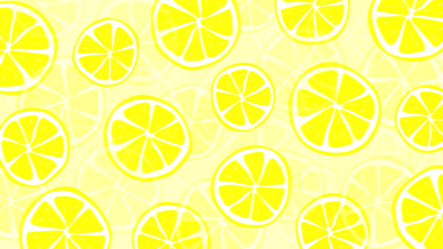 vídeos de stock e filmes b-roll de loopable fresh and summery lemon pattern animation - limonada tradicional