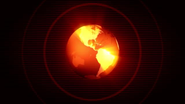 loopable globe animation with radio waves (hd) - red - earth from space bildbanksvideor och videomaterial från bakom kulisserna