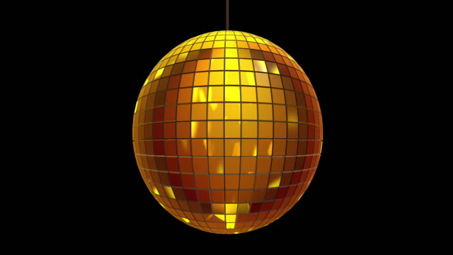 Loopable golden disco ball rotating slowly on black background